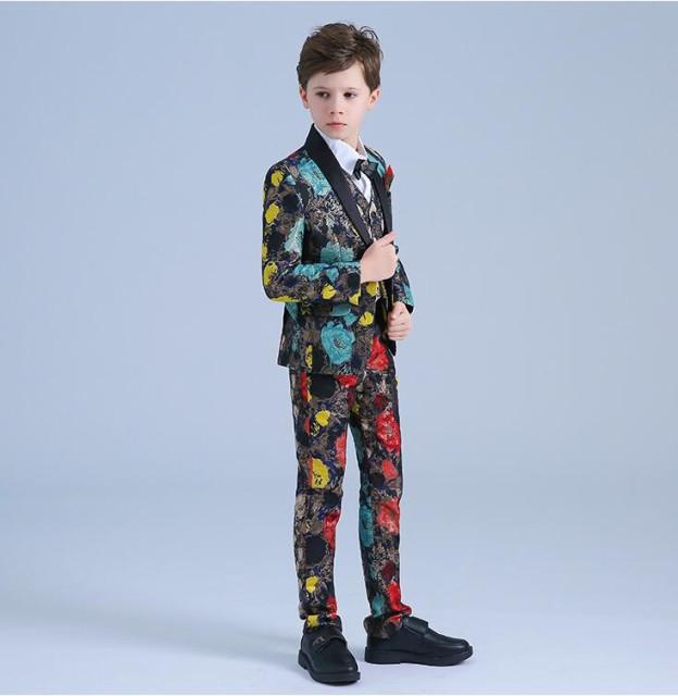 637212251edb2 花柄 男の子スーツ 子供スーツ 6点セット フォーマル ピアノ 男児 120~150 キッズ
