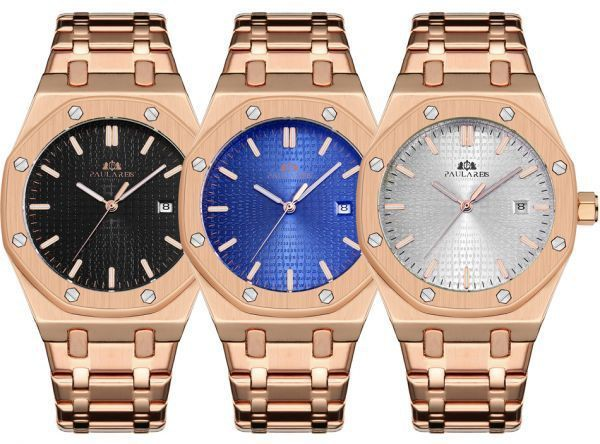 the latest c2caa 5b813 メンズ 腕時計 機械式 高級腕時計 メンズ 自動巻 ステンレス オーデマピゲ ロイヤルオーク の オマージュ ローズゴールド/ホワイト
