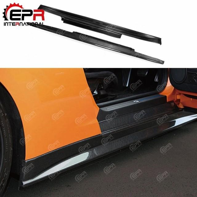 名作 車 外装 For Nissan R35 GTR Coupe ZELE Style Carbon Fiber Side Skirt Glossy Finish GT-R ZE Do, イカリガセキムラ a634a61c