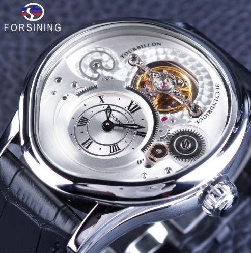 【18%OFF】 2018シルバーケースファッショントゥールビヨンブラック本革ストラップメンズ腕時計トップブランドの高級腕時計自動, サカキマチ:c966cee5 --- schongauer-volksfest.de