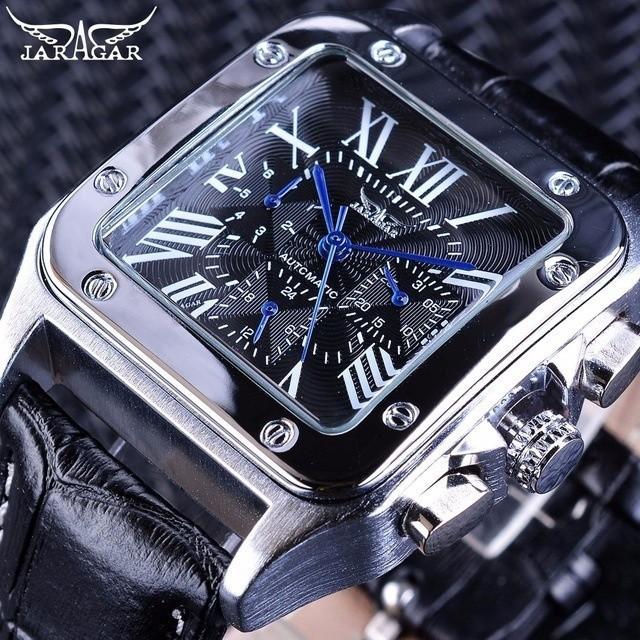 new styles 96e60 20a5f 海外人気ブランド JARAGAR メンズ腕時計 自動巻き 機械式腕時計 スクエア レザーストラップ ラグジュアリーウォッチ ブラッ