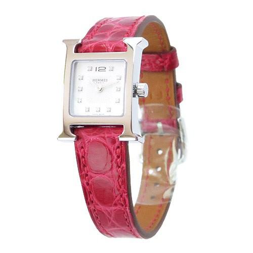高級感 腕時計 エルメス レッド/シルバー Hウォッチ HE91-WHAT-4280/SV-腕時計レディース