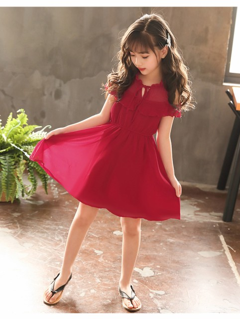 297979d2574 韓国子ども服 ワンピース 女の子 シフォン ジュニア プリンセス 肩開き フリルスカート 夏 半袖 スカラップネック