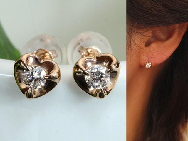 【完売】  ダイヤモンド 合計0.2ct ぷっくりハートの中に一粒ダイヤが煌めくK18PGピアス・イヤリング可 各種地金対応可 受注品, 業務資材のきんだいネットショップ b6b63d43