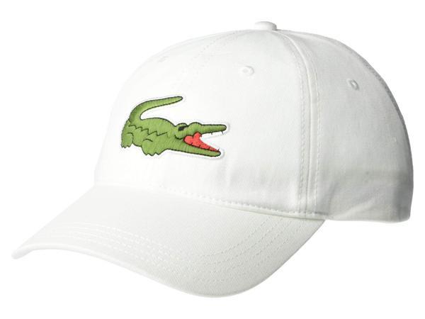 ラコステ メンズ 帽子 アクセサリー Big Croc Twill Leatherstrap Cap White
