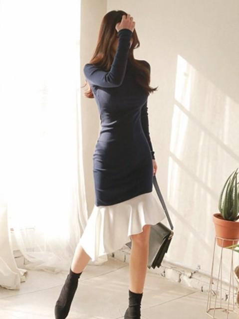 c63c0dfe27613 マーメイドフリルの裾がオシャレ♪ 女性らしいBODYラインを綺麗に魅せることができるタイトデザイン。 エレガントなシーンでもちょっとしたお出かけに も使いやすい1枚 ...