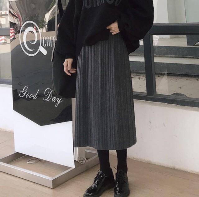 シックなプリーツスカート♪ ミモレ丈 レディース ウエストゴム 定番 大人 秋冬 b-273