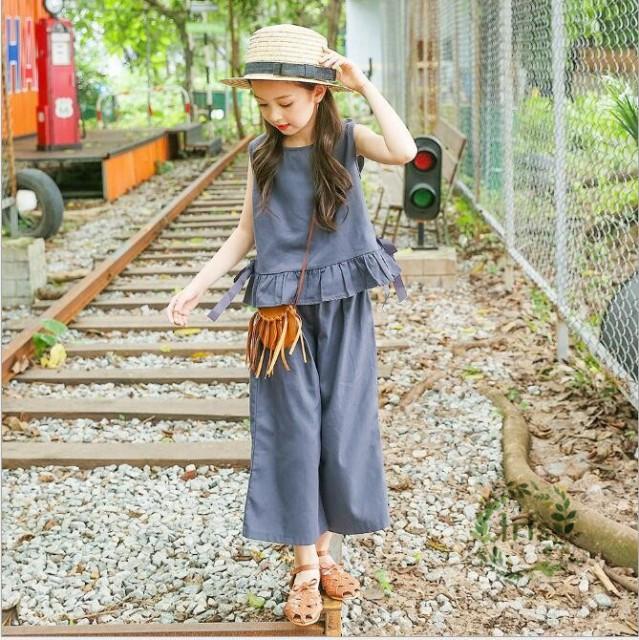 2b000763efb7f キッズ 子供服 女の子 セットアップ ガウチョパンツ ブラウス 上下セット フレア ノースリーブ ワイドパンツ 袖無し