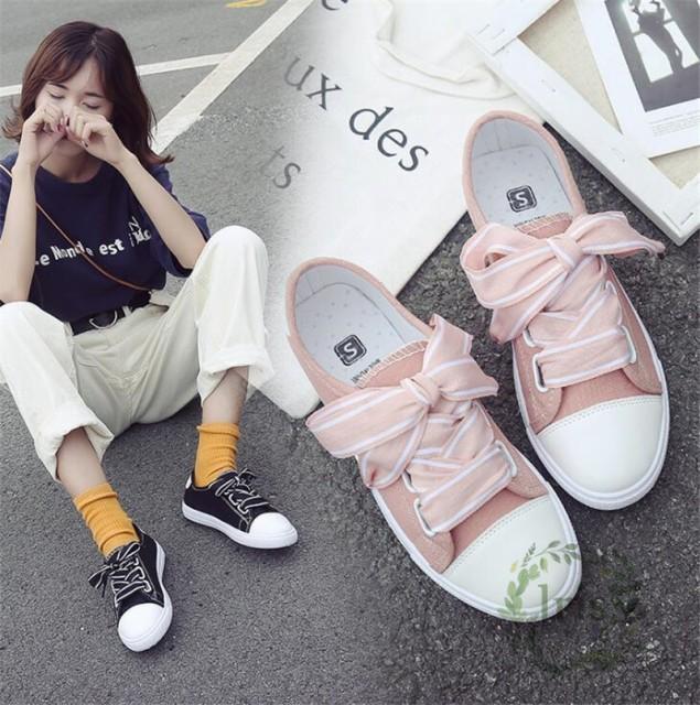 f6296942cc3305 スニーカー レディース 白 靴 シューズ キャンバス 厚底スニーカー シンプル スケボー リボン 2.5cm 靴 可愛い おしゃれ