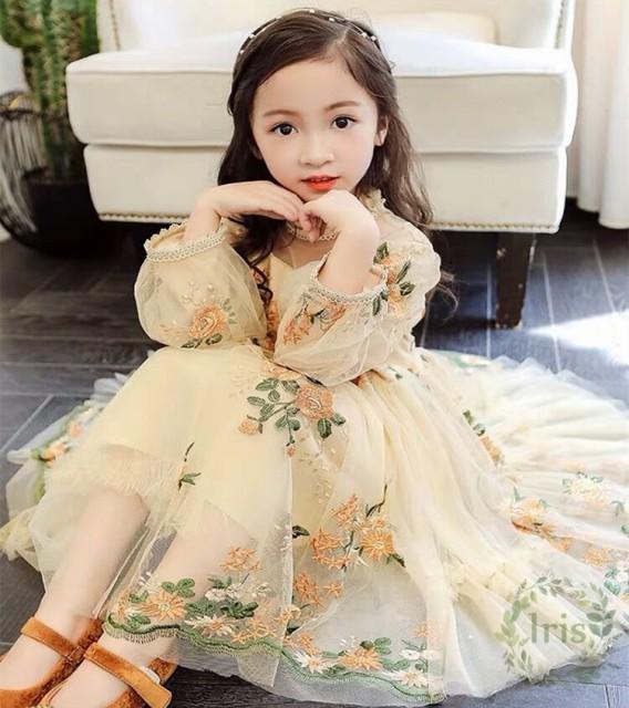 15578aa3e618a 子供ドレス ピアノ発表会 女の子 長袖 花柄刺繍 チュール ワンピース 子どもドレス フォーマル 七五三