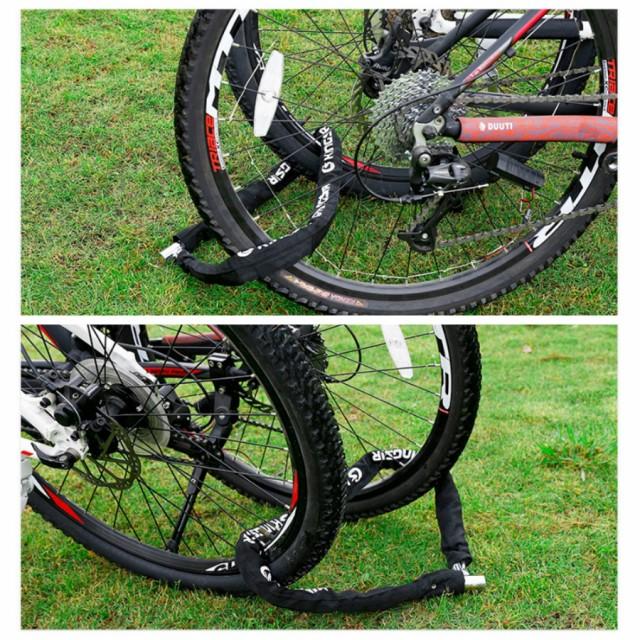 送料無料hanano 極太 バイク用チェーンロック 自転車 バイク 盗難 防止 用 ロング タイプ 24au Wowmaワウマ