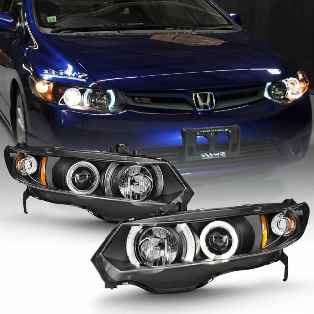 最安値で  ヘッドライト Blk 2006-2011用Honda Civic 2Dr Coupe LEDハロープロジェクターヘッドライトヘッド, 文具こーたろー 5d65fabf