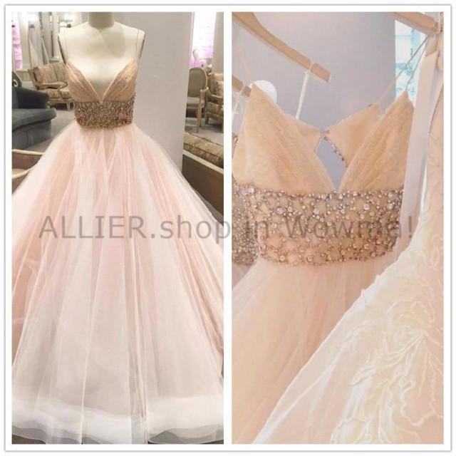 【タイムセール!】 ウェディングドレス 赤面ピンクのウェディングドレスビーズのストラップレスのチュールの花嫁衣装6 8 10 12 14 16 18W, maharo【マハロ】 c8330c08
