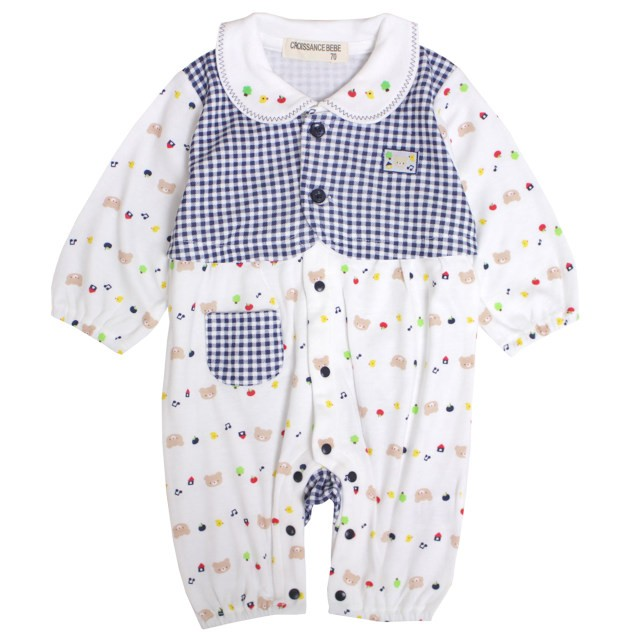 2d20a27bec623 カバーオール ベビー 新生児 女の子 ロンパース 赤ちゃん 乳児用 出産祝などプレゼントに 足付