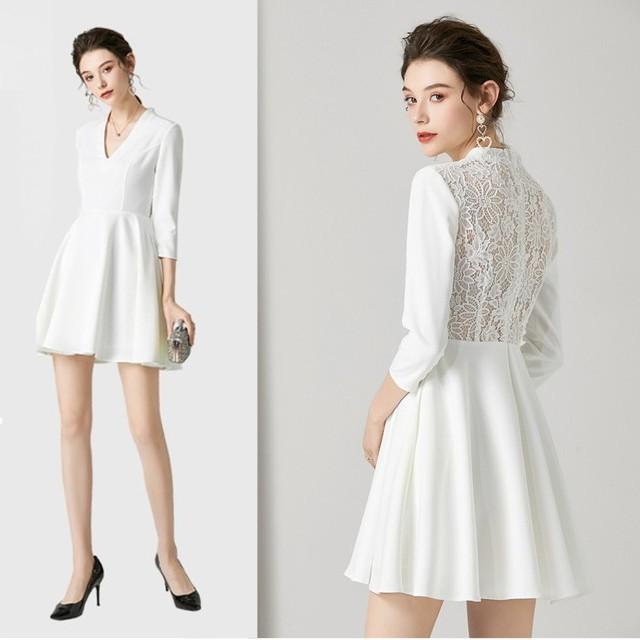 ミニドレス パーティードレス ミニ ドレス ワンピース 袖付き 七分袖 白ドレス レース 大きいサイズ Aライン