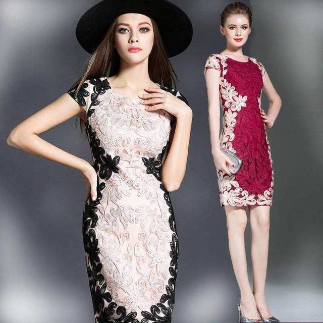 パーティードレス 結婚式 二次会 お呼ばれワンピース 刺繍 お呼ばれドレス ドレス 20代 30代 40代 送料無料 サイズ豊富