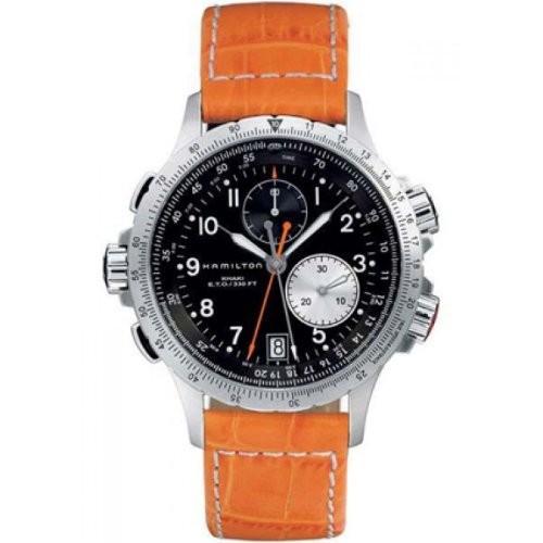激安正規品 Hamilton H77612933 Mens H77612933 Watch Khaki Field Stainless Steel Chronograph Hamilton Watch with Orange Leather Band, スニーカーシュープラネット:0d087f15 --- 1gc.de