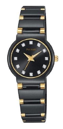【ギフト】 Pulsar女性用クリスタルブラックイオンゴールド調時計, ホビープラザ とらや:a83804df --- ai-dueren.de