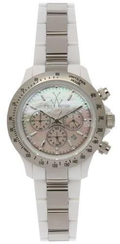 品質は非常に良い Toy Metal White 18207-SL Watch Silver Heavy Plasteramic Chrono-腕時計レディース