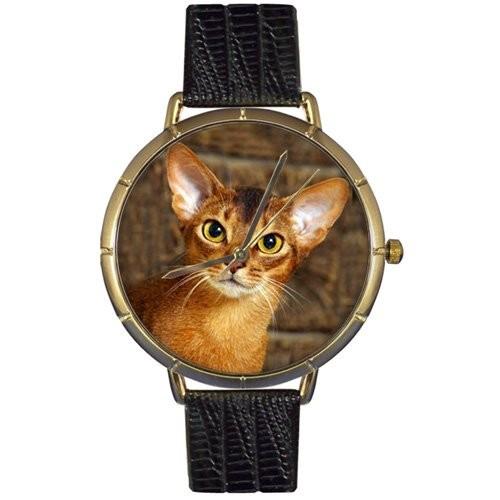 【在庫一掃】 Whimsical Watches Womens N0120033 Abyssinian Cat Black Leather And Goldtone Photo Watch, 漆器 よし彦 7cdb436b