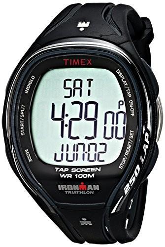 新入荷 Watch Resin 250 Ironman T5K588 Strap TapScreen Full-Size Black Mens Timex Sleek-腕時計メンズ