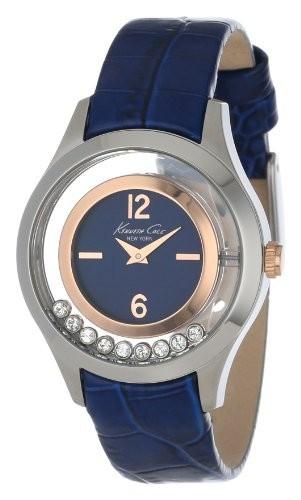 偉大な Kenneth Cole New York Women &aposs kc2784透明度ブルーandローズゴールドFloating Stone Dial Watch, 佐渡市 bea9b7f8