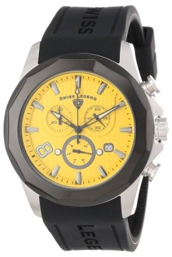 ラウンド  10042???07-bb CarloクロノグラフYellow Black Silicone &aposs Watch Men Dial Textured Legend Monte Swiss-腕時計メンズ
