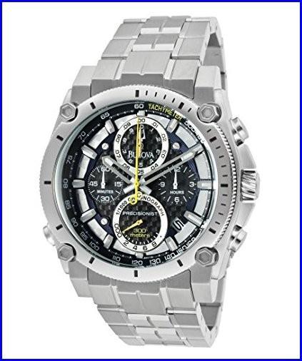 独創的 Steel 96B175 Precisionist Silver Chronograph Watch Stainless Tone/Black Bulova Mens Champlain-腕時計メンズ