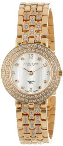 かわいい! Watch XXIV Gold-Tone Akribos Swiss AK598YG Diamond Bracelet Quartz Womens Impeccable-腕時計レディース