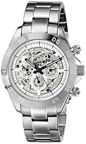 玄関先迄納品 487.01 Mens Skeleton Stainless Multifunction Elite Steel Automatic Watch/ストゥーリングオリジナル/腕 Symphony Stuhrling Original-腕時計メンズ