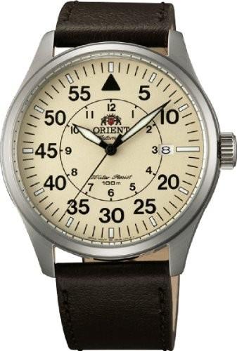 【日本産】 # fer2?a005yメンズフライトコレクションレザーバンドパイロット自動時計 Orient-腕時計メンズ