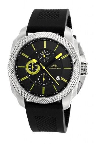 印象のデザイン Brightグリーンアクセントメンズ腕時計332?Anir Niccoloシリコンシルバートーン&ampブラックwith Bleu porsamo-腕時計メンズ