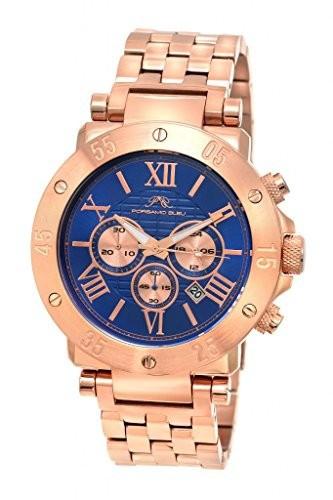 珍しい Watch Roger Steel Men Blue & porsamo Stainless Rose &aposs Tone 582?Cros Bleu-腕時計メンズ