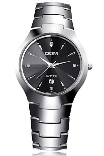 【超歓迎された】 DOMブランドメンズラグジュアリータングステンカーバイドシルバークォーツ腕時計, カノヤシ 7b3223a7