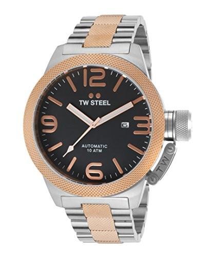 【ギフ_包装】 TWTW Steel cb136メンズCanteen自動ツートンカラーステンレススチールブラックダイヤル時計, 工具屋のプロ:40b277a7 --- 1gc.de