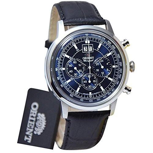 日本に Orient 45mm Mens Steel 45mm Watch Black Leather Band Steel Case Quartz Blue Dial Analog Watch FTV02003D0, DJ機材専門店PowerDJ's:7c761ba3 --- 1gc.de