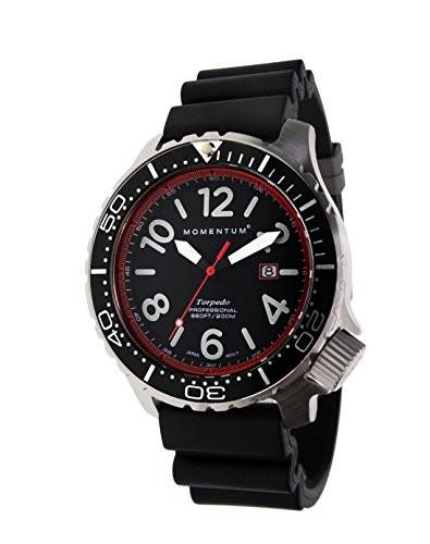 最高級 Momentum Men s Quartzステンレススチールand Rubber Watch , Color : Black ( Model : 1?m-dv74r1b ), モダンインテリア Picchio 9705e0f9