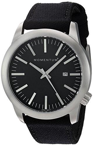 【★大感謝セール】 MomentumメンズクオーツステンレススチールとキャンバスDress Watch , Color : Black ( Model : 1?m-sp10b6b ), Sai Marche de Sanuki 2df44e1c