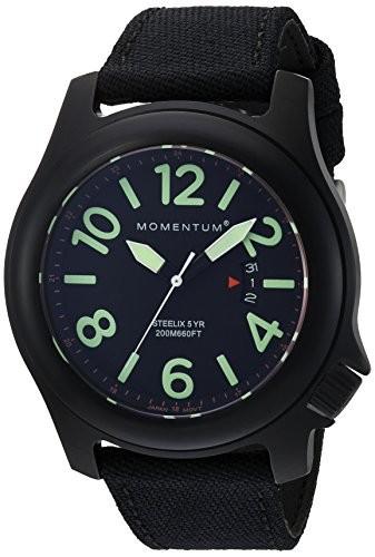 人気の春夏 Momentumメンズ&apos Steelix &apos Quartzステンレススチールand Nylon Casual Watch , Color : Black ( Model : 1?m-sp84b6b ), SWAMI 12040216