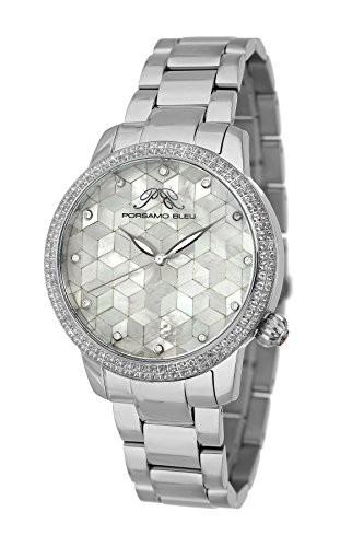 当季大流行 女性用 Porsamo シルバー調 Bleu 761AEVS ステンレススチール Evelyn トパーズモザイク腕時計-腕時計レディース
