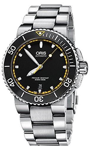 ベストセラー Faceステンレススチールブレスレットスイス時計73376534127?MB Aquis Mens日付自動ブラック42?mm Oris-腕時計メンズ