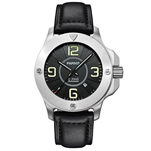 素晴らしい外見 Parnis CommanderParnis Commander Seriers光メンズサファイアガラスレザーバンドミリタリースポーツ自動機械腕時計???シルバーケ?, ヘグリチョウ:8798be3f --- 1gc.de