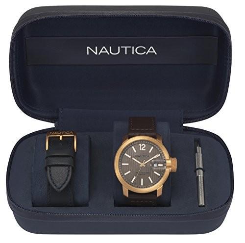 【楽天スーパーセール】 ノーティカMen s Syd Sydney QuartzステンレススチールandレザーSport Watch , Color : Beige ( Model : napsyd013?), アブチョウ 975c7ac0