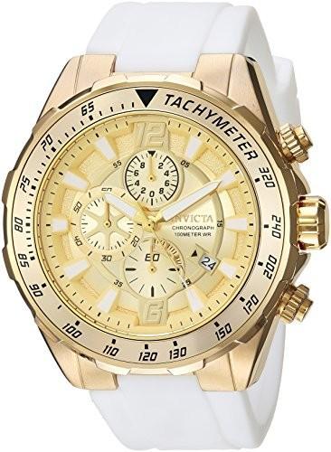 2018セール Invicta Men s Aviator Quartzゴールド調andシリコンCasual Watch , Color : White ( Model : 24578?), コウベシ c697d805
