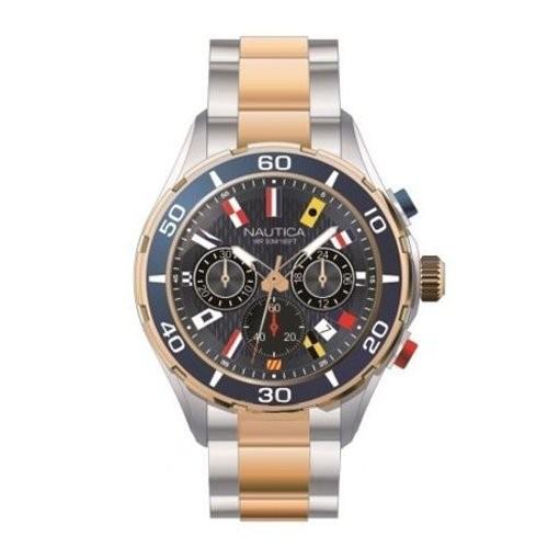 店舗良い 12クロノグラフ海軍ブラックダイヤルメンズ時計nad19560g Nautica NST-腕時計メンズ