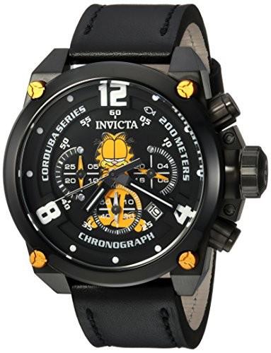 正規通販 (Model: 24888) and Color:Black Leather Steel Quartz Mens Invicta Stainless Character Casual Watch, Collection-腕時計メンズ