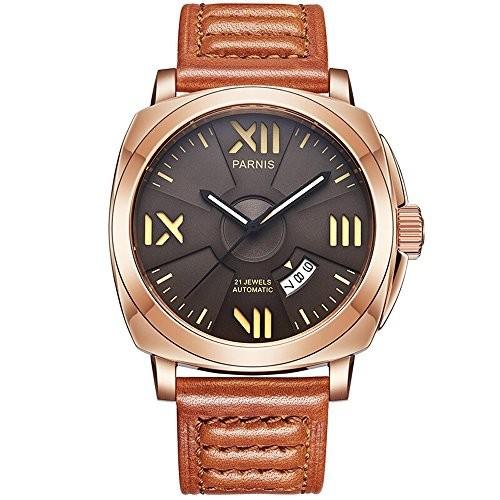 【限定品】 Seriers光メンズレザーバンドファッション自動機械腕時計腕時計 Knight Parnis-腕時計メンズ