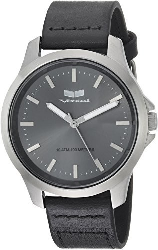 【代引き不可】 Vestal Quartz Stainless Steel and Leather Casual Watch, Color:Black (Model: HEI393L16.BK), なごみ工房 3a33dd45