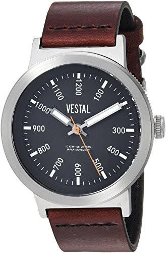 再再販! Mens Steel Leather Retrofocus Watch, Casual Vestal Quartz SLR443L01.3VBK) Color:Brown (Model: and Stainless-腕時計メンズ
