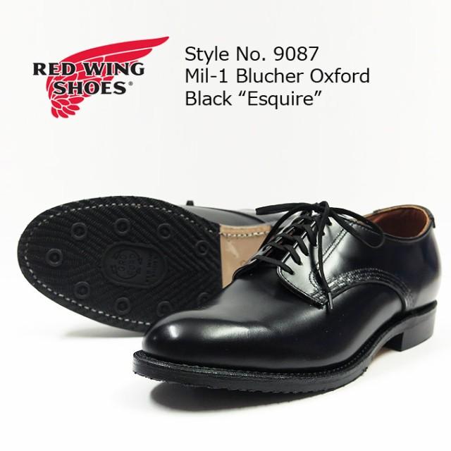 逆輸入 レッドウィング REDWING rw9087 Oxford BLACK オックスフォード Mil-1 シューズ Esquire ブラック Blucher ブルーチャー-靴・シューズ